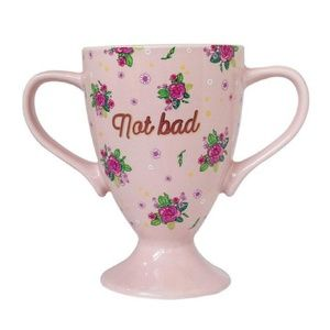 Not Bad Trophy Mug in Pink Floral Design